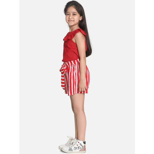 AWW HUNNIE Girls Red & White Solid Top with Shorts