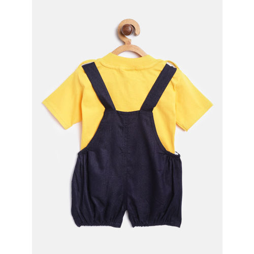 KUCHIPOO Kids Yellow & Navy Blue Solid T-Shirt with Chambray Dungarees