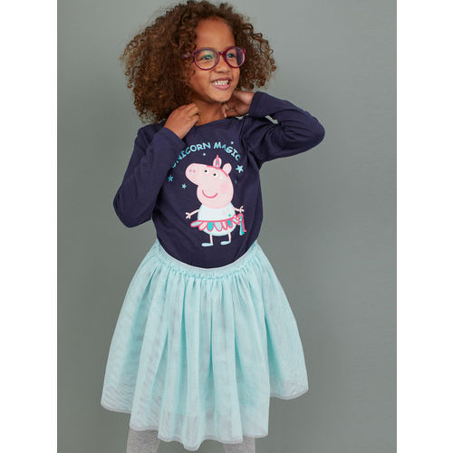 H&M Girls Navy Blue Printed Top And Tulle Skirt