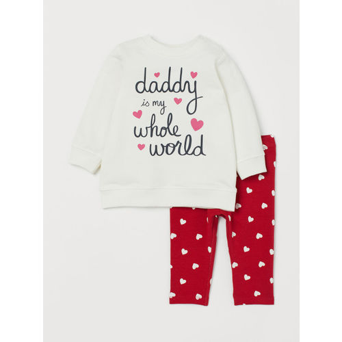 H&M Girls White & Red Sweatshirt and Trousers