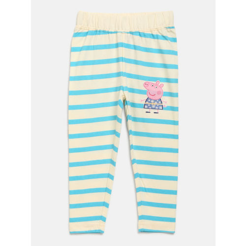 Peppa Pig Girls Cream-Coloured & Blue Printed Top with Leggings