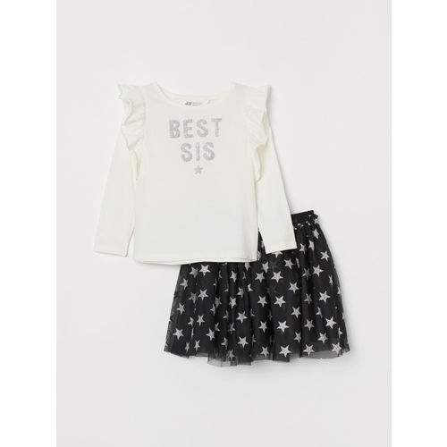 H&M Girls White & Black Printed Top and Tulle Skirt