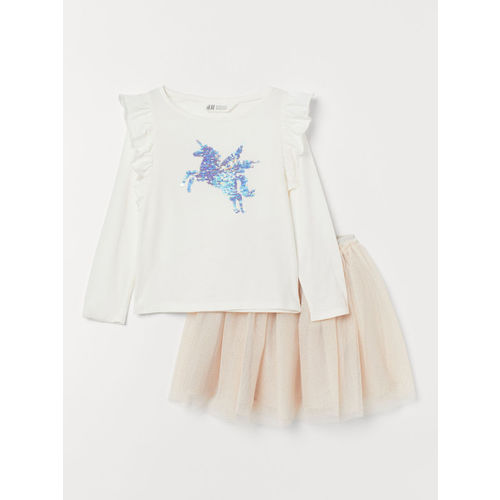 H&M Girls White & Beige Top and Tulle Skirt