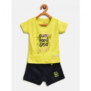 Gini and Jony Girls Lime Green & Navy Printed T-shirt with Shorts