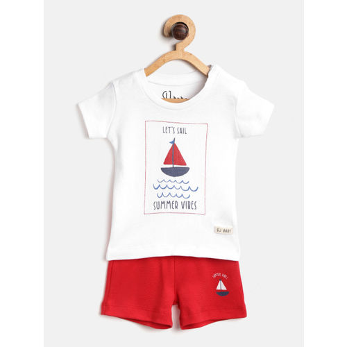 Gini and Jony Girls White & Red Printed T-shirt with Shorts