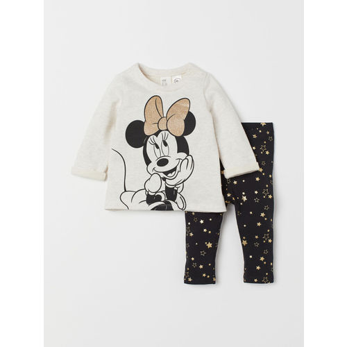 H&M Girls Off-White & Black Minnie Mouse Printed Sweatshirt and Leggings