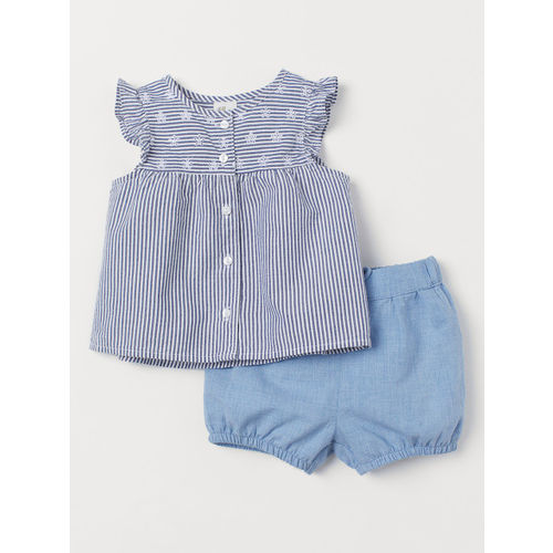 H&M Girls Blue & White Striped Cotton Blouse and Shorts