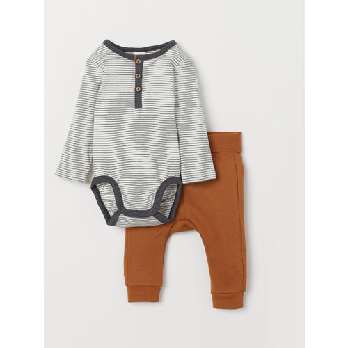 H&M Kids White & Brown Bodysuit And Trousers