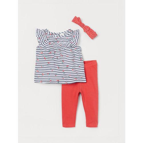 H&M Girls White & Red 3-Piece Cotton Set