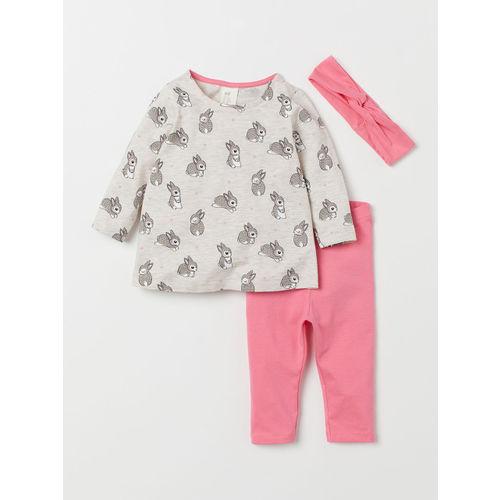 H&M Girls Beige & Pink Printed 3-Piece Jersey Set