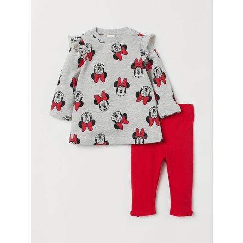 H&M Girls Grey & Red Printed Dress And Leggings
