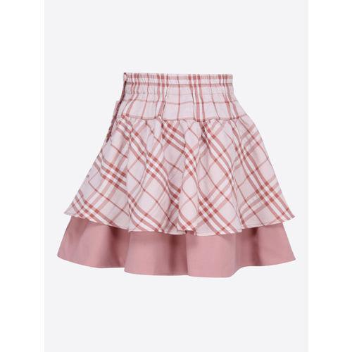 CUTECUMBER Girls Pink Checked Flared Skirt