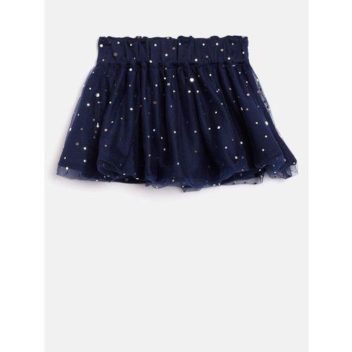 United Colors of Benetton Girls Navy Blue Embellished Flared Skirt