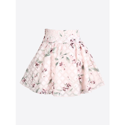 CUTECUMBER Girls Pink Printed A-Line Knee-Length Skirt