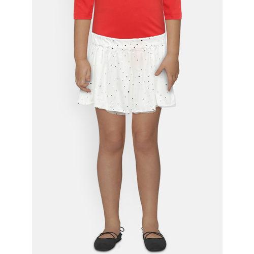 United Colors of Benetton Girls White Embellished Flared Skirt