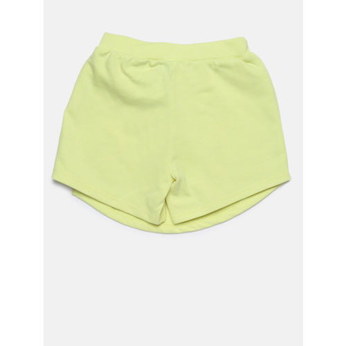 Juniors by Lifestyle Girls Lime Yellow Solid Regular Fit Skorts