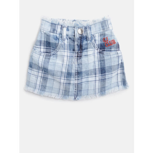 Gini and Jony Girls Blue Checked Denim A-Line Skirt