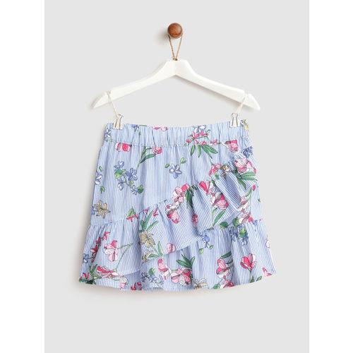 YK Girls Blue & White Striped Ruffled A-Line Skirt