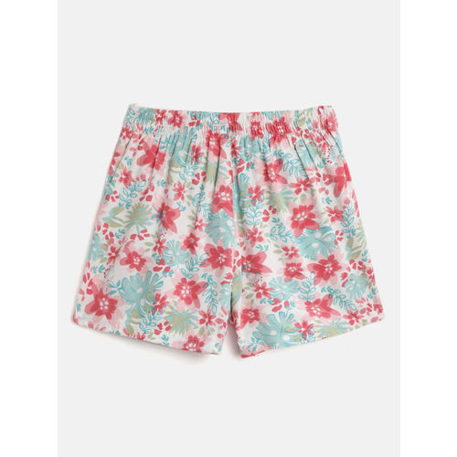 Gini and Jony Girls White & Pink Printed Mini Skorts
