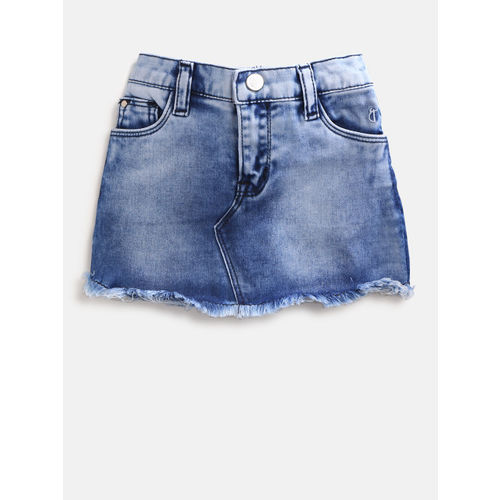 Gini and Jony Girls Blue Washed Denim A-Line Skirt