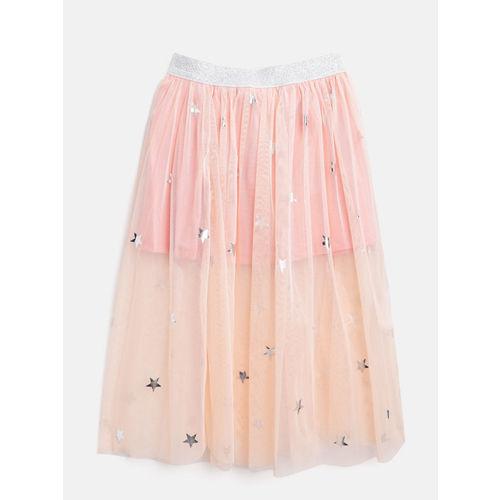 Gini and Jony Girls Peach Coloured Semi-Sheer Printed Net Flared Skirt