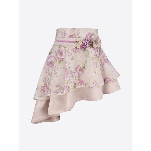 CUTECUMBER Girls Beige & Pink Floral Printed A-Line Skirt