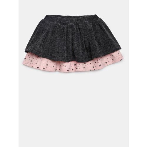 Losan Girls Charcoal Charcoal Grey & Pink Layered A-Line Skirt