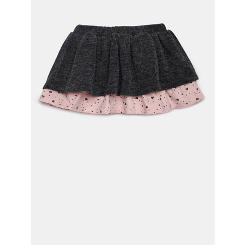Losan Girls Charcoal Charcoal Grey & Pink Layered A-Line Skirt