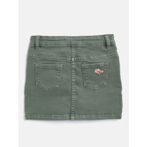 Marks & Spencer Girls Olive Green Embroidered Denim Straight Skirt