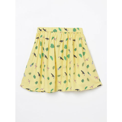 Fame Forever by Lifestyle Girls Yellow & Green Printed A-Line Skirt