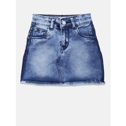 Gini and Jony Girls Blue Washed Denim A-Line Skirt