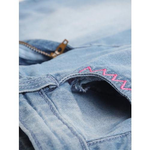 YK Girls Blue Washed Denim A-Line Skirt