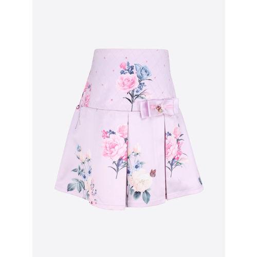 CUTECUMBER Girls Lavender & Pink Floral Printed A-Line Skirt