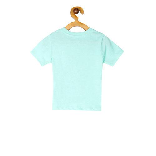 The Childrens Place Boys Aqua Blue Printed Round Neck T-shirt