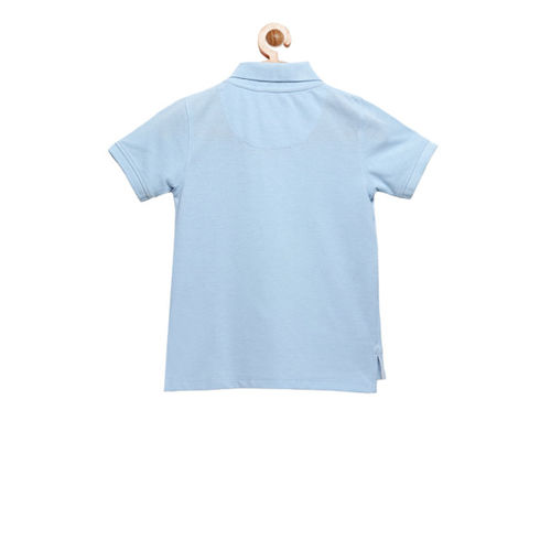 Cherry Crumble Boys Turquoise Blue Polo Collar T-shirt With Applique Detail