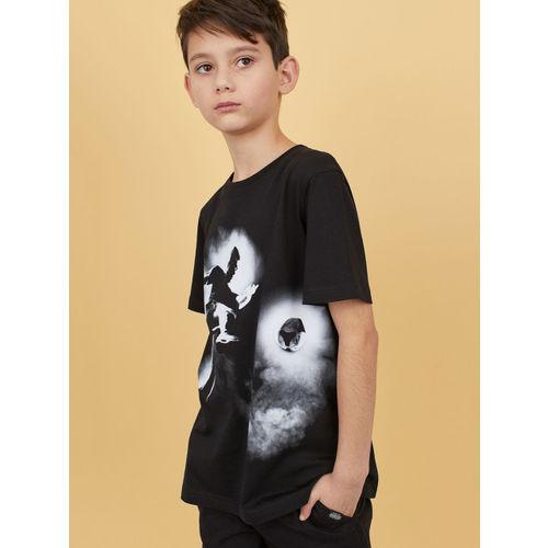 H&M Boys Black Printed T-shirt