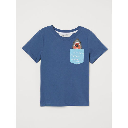 H&M Boys Blue T-Shirt With Print Motif