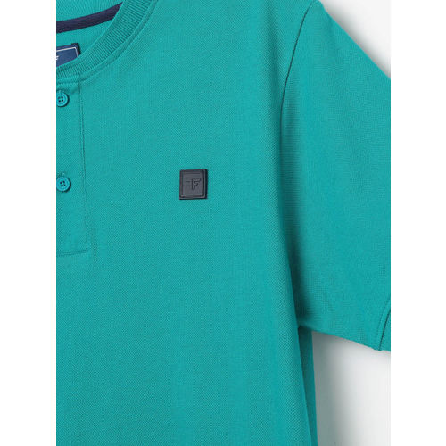 Fame Forever by Lifestyle Boys Sea Green Printed Henley Neck T-shirt