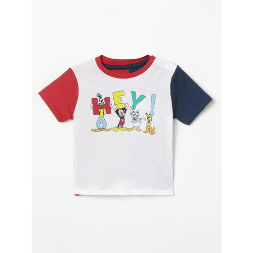 Juniors by Lifestyle Infant White & Red Printed Round Neck T-shirt