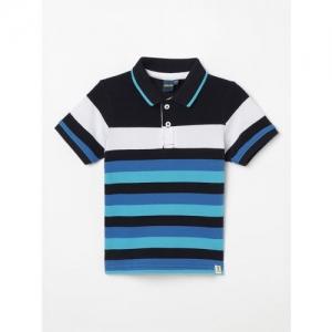 Juniors by Lifestyle Boys Black & Blue Striped Polo Collar T-shirt