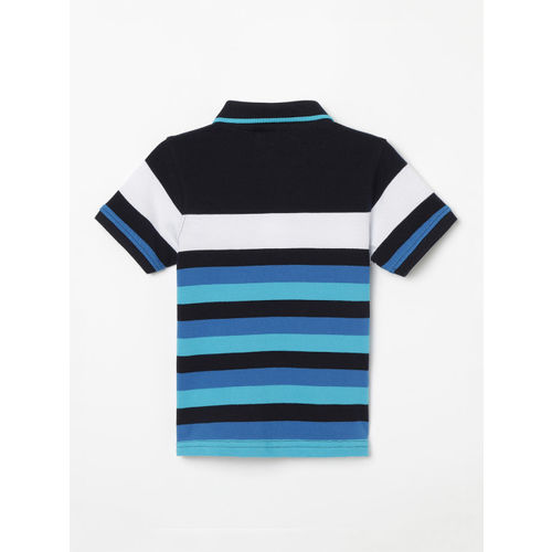 Juniors by Lifestyle Boys Black & Blue Striped Polo Collar T-shirt