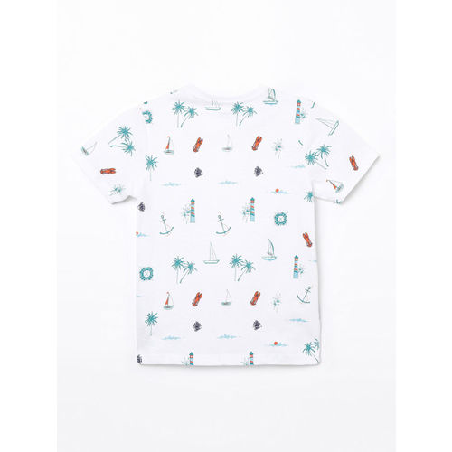 Bossini Boys White Printed Round Neck T-shirt