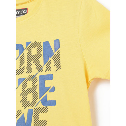 Kappa Boys Yellow Printed Round Neck T-shirt