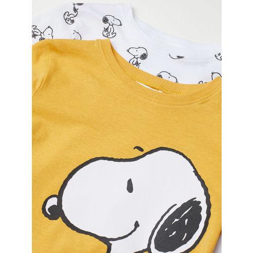 H&M Boys Yellow & White 2-Pack Printed T-Shirts