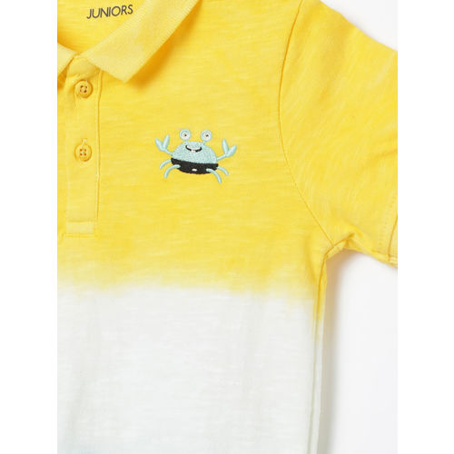 Juniors by Lifestyle Boys Yellow & White Ombre Dyed Polo Collar T-shirt