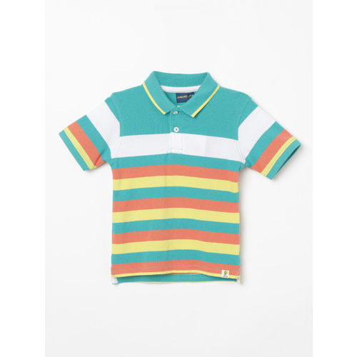 Juniors by Lifestyle Boys Sea Green & Yellow Striped Polo Collar T-shirt