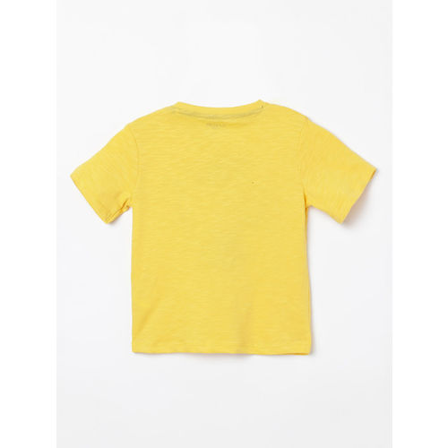 Juniors by Lifestyle Boys Yellow Printed Round Neck T-shirt