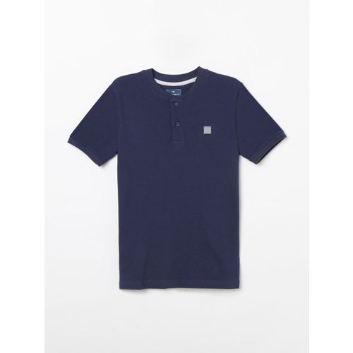Fame Forever by Lifestyle Boys Navy Blue Printed Henley Neck T-shirt