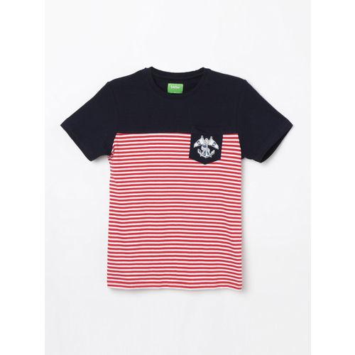 Bossini Boys Navy Blue Striped Round Neck T-shirt
