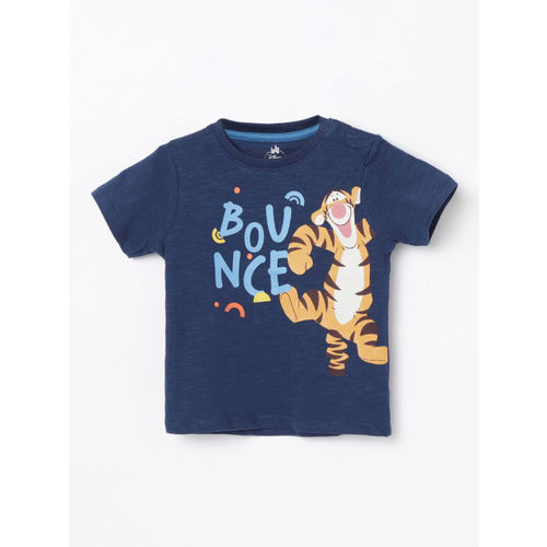 Juniors by Lifestyle Boys Navy Blue Tigger Printed Round Neck T-shirt